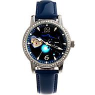 Dames Modieus horloge mechanische horloges Automatisch opwindmechanisme Echt leer Band Blauw Orange Groen Roze