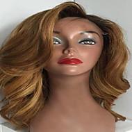 Mulher Perucas de Cabelo Natural Cabelo Humano Frente de Malha Renda Integral Sem Cola 130% Densidade Onda de Corpo Peruca Preto / Medium