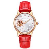Dames Skeleton horloge Modieus horloge mechanische horloges Automatisch opwindmechanisme Waterbestendig s Nachts oplichtend Echt leer Band