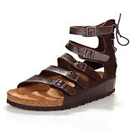 Muške Sandale Udobne cipele Svjetleće tenisice Koža Ljeto Jesen Kauzalni Udobne cipele Svjetleće tenisice Ravna potpeticaCrno-bijeli