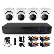 Yanse® 2,8mm objektiv 4 ch 720p hd kablet cctv kamera dvr kit ir vandtæt sikkerhed overvågningssystem hjem 1.0mp