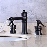 Arte Deco/Retro Difundido Vãlvula Latão Duas alças de quatro furos for  Bronze Polido a Óleo , Torneira pia do banheiro