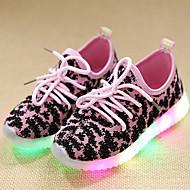 Meisjes Sneakers Oplichtende schoenen Leer Tule Lente Zomer Herfst Causaal Wandelen Oplichtende schoenen Veters LED Lage hakZwart Groen