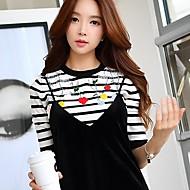 Damen Standard Pullover-Ausgehen Lässig/Alltäglich Arbeit Retro Einfach Anspruchsvoll Gestreift Rundhalsausschnitt Halbe Ärmel Nylon