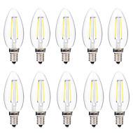 2W LED-hehkulamput C35 2 COB 200 lm Lämmin valkoinen Valkoinen Himmennettävissä AC 220-240 V 10 kpl