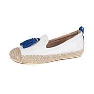 Dámské Bez podpatku Pohodlné Společenské boty PU Podzim Ležérní Šaty Chůze Pohodlné Společenské boty Třásně Plochá podrážka Bílá Černá