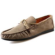 Férfi Vitorlás cipők Gyalogló Kényelmes Fordított bőr Tavasz Ősz Hétköznapi Lapos Fekete Sötétkék Khakizöld 2 inch-2 3 / 4 inch