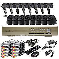 אולטרה 16CH D1 זמן אמת H.264 טלוויזיה במעגל סגור DVR קיט (16 420TVL מצלמות בפנים ובחוץ ראיית לילה CMOS)