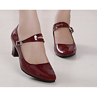 Women's Latin PU Patent Leather Heels Practice Ruby Dark Red Black