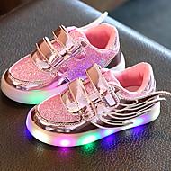 Para Meninas Sapatos Tule Courino Primavera Verão Outono Tênis com LED Tênis Caminhada Salto Baixo Ponta Redonda Velcro LED Para Casual
