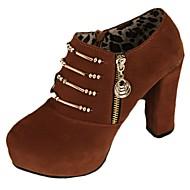 Femme Chaussures à Talons Confort Automne Daim Décontracté Fermeture Lacet Gros Talon Noir Marron 7,5 à 9,5 cm