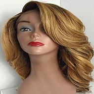 Női Emberi hajból készült parókák Remy Csipke eleje Tüll homlokrész 130% 150% 180% Sűrűség Hullámos Paróka Jet Black Fekete Sötétbarna