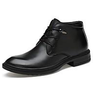 Masculino Botas Conforto Curta/Ankle Sapatos formais Sapatos de mergulho Forro de fluff Primavera Inverno Pele Real Pele Napa Pele Casual