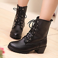 Women's Shoes PU Fall Winter Comfort Boots Chunky Heel Round Toe With For Casual White Black Brown