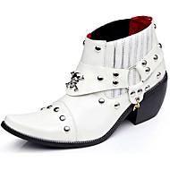 メンズ ブーツ ファッションブーツ ブーティー エナメル 秋 冬 カジュアル パーティー ホワイト ブラック 1インチ以下