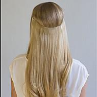 20-дюймовая шелковая прямая невидимая проволока 100% remy реальные человеческие волосы для наращивания волос 120г