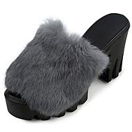 Feminino Chinelos e flip-flops Conforto Outono Pêlo/Pena Social Salto Grosso Preto Cinzento Vinho 7,5 a 9,5 cm