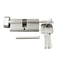 serrure cylindre pouce tour cylindre 70mm (35/35), cylindre de serrure avec le bouton avec 3 clés, brosse Nickel