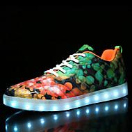 Dame Treningssko Komfort Lysende sko Syntetisk Mikrofiber PU Høst Vinter Avslappet Fest/aften Snøring Flat hælSvart Lyseblå Oransje &