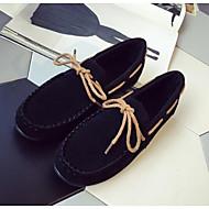 Dame Flate sko Komfort Egte Lær PU Vår Avslappet Svart Grå Kamel Flat