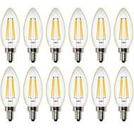 4W LED-hehkulamput C35 4 COB 400 lm Lämmin valkoinen Himmennettävissä Koristeltu AC 220-240 AC 110-130 V 12 kpl