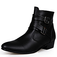 Herre Støvler Komfort Ankelstøvel Trendy støvler Snøstøvler Lær Tekstil Høst Vinter Atletisk Avslappet Snøring Flat hælHvit Svart