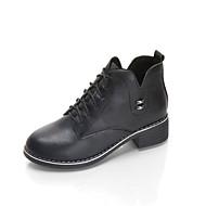 Feminino Oxfords Sapatos formais Outono Couro Ecológico Casual Social Cadarço Salto Baixo Preto Cinzento Vinho 2,5 a 4,5 cm
