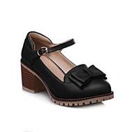 Feminino Sapatos Couro Ecológico Primavera Verão Conforto Oxfords Salto Grosso Ponta Redonda Com Para Casual Preto Azul Rosa claro