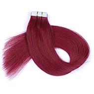 16-24-дюймовая лента в remy наращивания человеческих волос burgundy pu tape в наращивании волос 20 штук