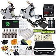 Kompletan Tattoo Kit 2 x čelične tetovaža stroj za obloge i sjenčanje 2 Tattoo Machines LCD napajanja Tinte dostavljaju odvojeno