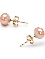 14k Gold Pink 6.5 - 7mm AAA Freshwater Pearl EarringImitation Diamond Birthstone