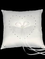 Luxurious Wedding Ring Pillow In White Satin With Rhinestones