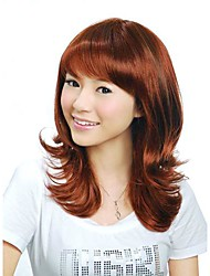 Capless Medium Length Synthetic Auburn European Weave Hair Wig