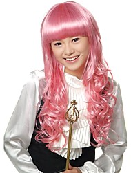 Capless Long Synthetic Light Pink Costume Curly Hair Wig