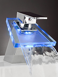 Single Lever Chrome Waterfall LED Bathroom Sink Faucet (0599-QH0802F)