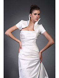 Short Sleeves Taffeta Satin Bridal Jacket / Wedding Wrap (WSM0417)
