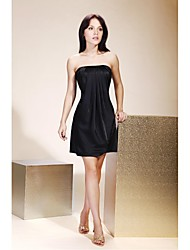 TS Couture® Cocktail Party / Holiday Dress - Little Black Dress Plus Size / Petite A-line / Princess Strapless Short / Mini Charmeuse with Draping