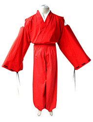 Inspired by InuYasha Inu Yasha Anime Cosplay Costumes Cosplay Suits / Kimono Solid Red Long Sleeve Kimono Coat / Top / Hakama pants