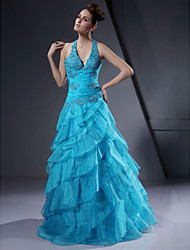 A-line Halter Floor-length Satin Organza Prom Dress