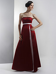 Floor-length Satin Bridesmaid Dress - Burgundy Plus Sizes / Petite A-line Strapless