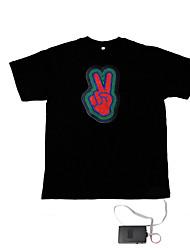 som e música ativado espectro vu metros el visualizador t-shirt (4 * AAA)