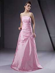 LAN TING BRIDE Floor-length Strapless Bridesmaid Dress - Lace-up Sleeveless Taffeta