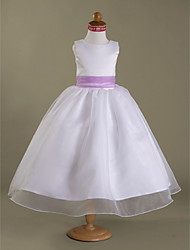 A-line / Princess Tea-length Flower Girl Dress - Organza / Satin Sleeveless Square / Straps with Bow(s) / Draping / Sash / Ribbon