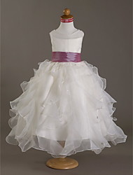 Ball Gown Floor-length Flower Girl Dress - Organza Satin Scoop with Beading Pearl Detailing Sash / Ribbon Ruching Cascading Ruffles