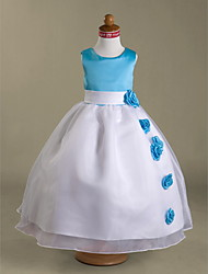 Ball Gown Floor-length Flower Girl Dress - Organza Satin Scoop with Flower(s) Sash / Ribbon