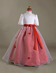 Ball Gown Floor-length Flower Girl Dress - Organza Satin V-neck with Bow(s) Flower(s) Ruffles Sash / Ribbon