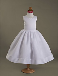 A-line Ball Gown Princess Tea-length Flower Girl Dress - Organza Satin Scoop with Draping