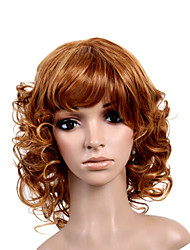Capless Medium Length High Quality Synthetic Natural Look Golden Brown Curly Hair Wig