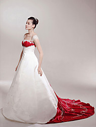 A-line Princess Off-the-shoulder Chapel Train Satin Wedding Dress with Appliques Draped by LAN TING BRIDE®