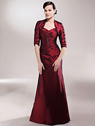 A-line Plus Sizes / Petite Mother of the Bride Dress - Burgundy Floor-length Half Sleeve Taffeta